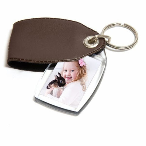 Personalised Keyring 35mm x 24mm Brown