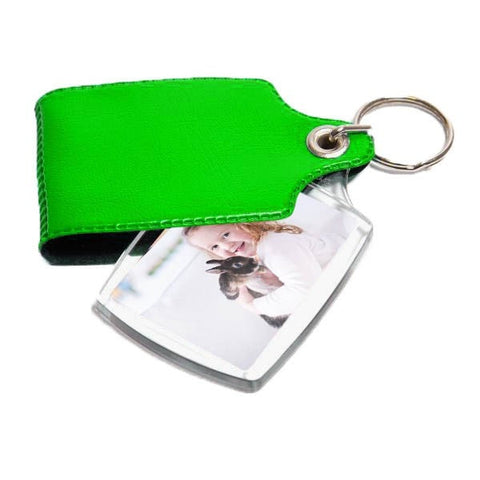 Personalised Covered Keyring Green