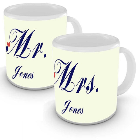 Personalised His & Hers Mr & Mrs Mugs