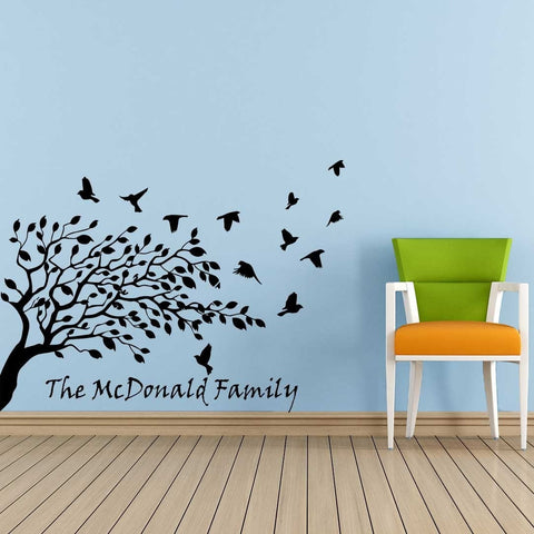 Personalised Tree and Birds Wall Sticker