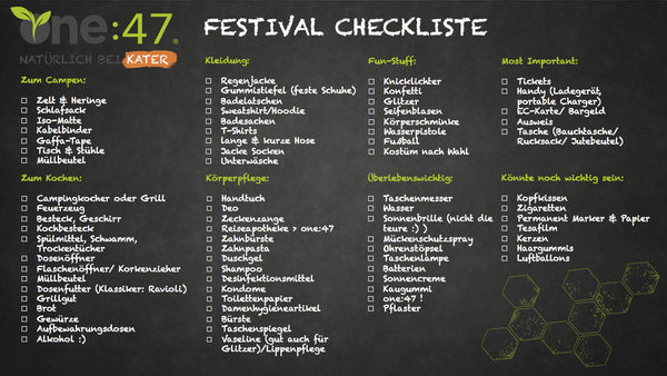 Festival Checkliste Packliste one47
