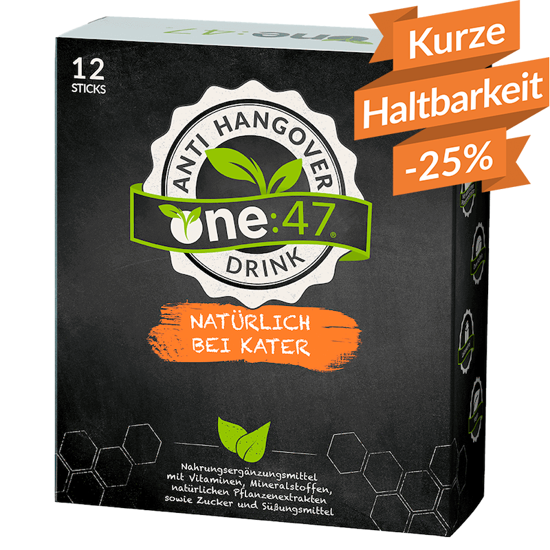 one47 Packung Anti Kater Drinks Sticks