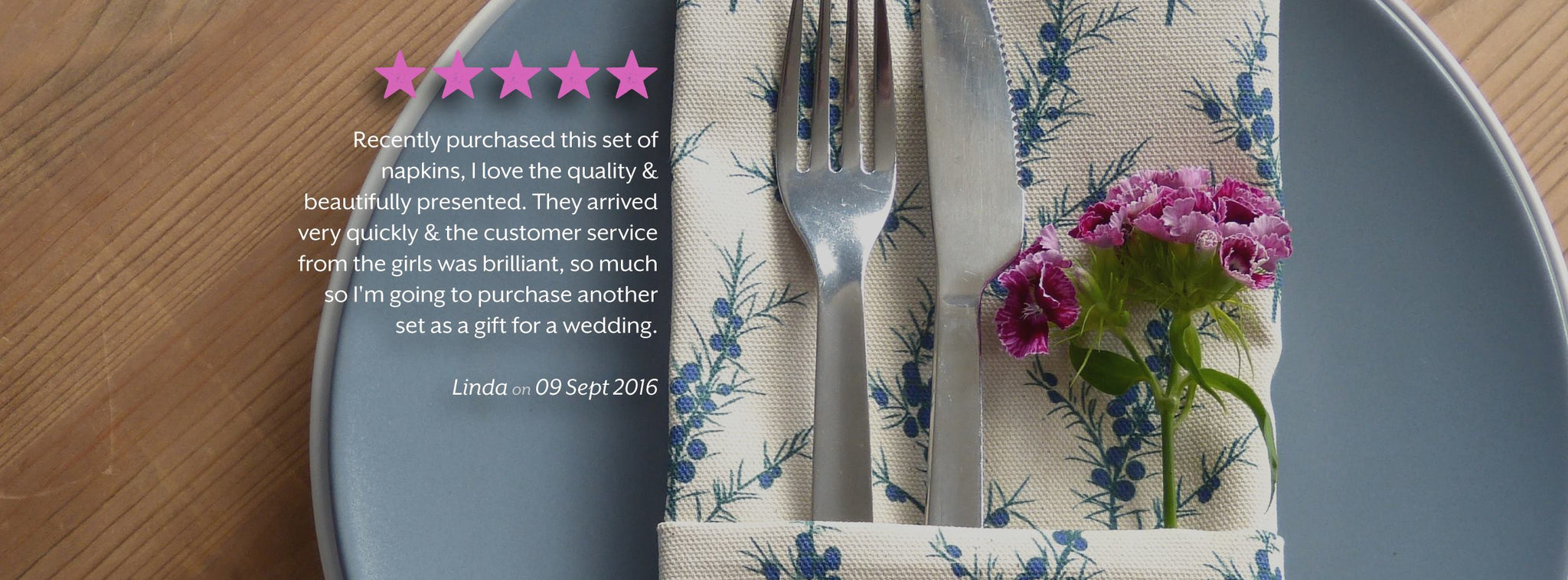 5 Star Review for our Cotton Napkins