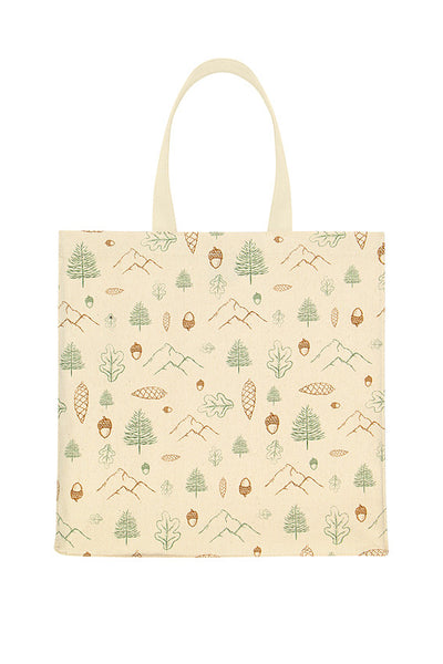 Woodland Print Canvas Tote Bag Autumnal UK
