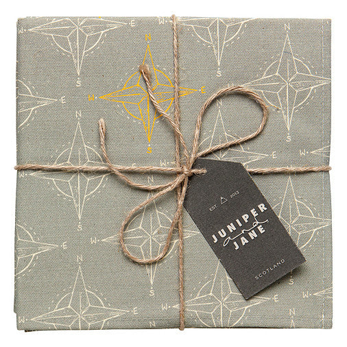 Compass Design Cotton Napkins