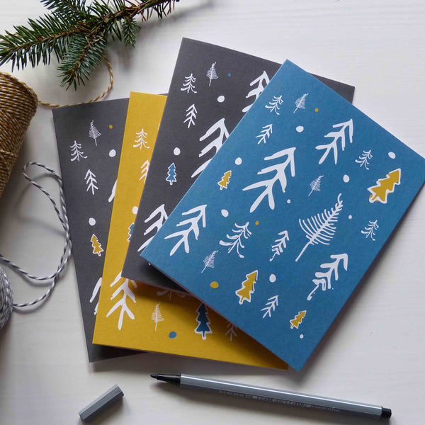Scottish Wild Pines Christmas Cards 2016 Blue Yellow Black