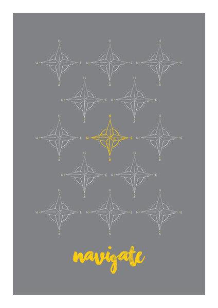 Compass Graphic Affordable Art Print Grey Yellow