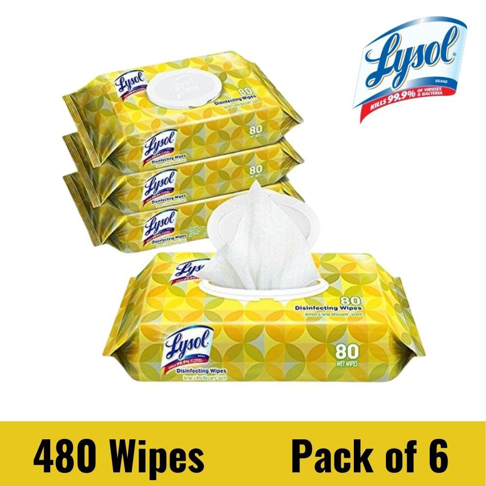 Disinfecting Wipes Flatpacks, 6.75 x 8.5, Lemon and Lime Blossom, 80 Wipes/Flat Pack, 6 Flat Packs/CartonLysol Disinfecting Wipes Flatpacks, 80 Wipes/Flat Pack, 6 Flat Packs/Carton