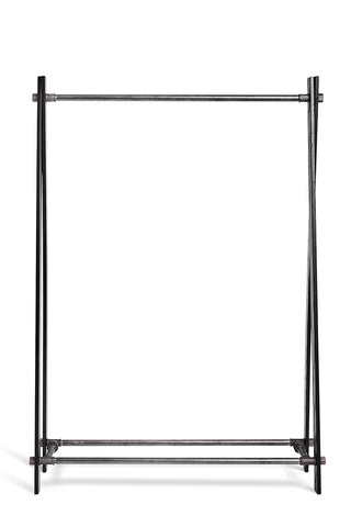 RackBuddy Loke Nordic Collection clothing rack made of black waterpipes and dark wood