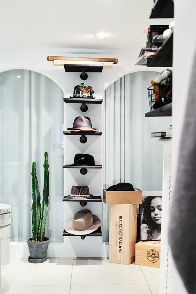 Hat shelves in Remee's walk-in closet - closet makeover