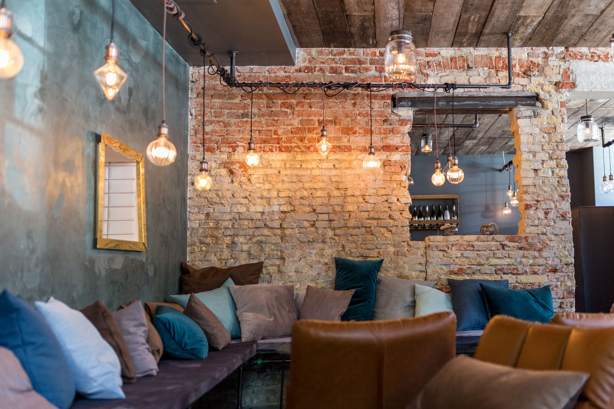 Winebar the Reception - brick walls & daybeds