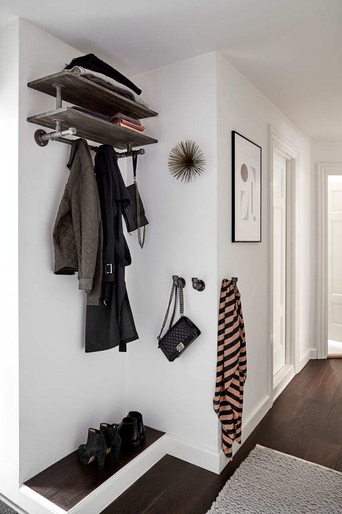 Custom entryway solution for coats, jackets, scarves, bags & shoes