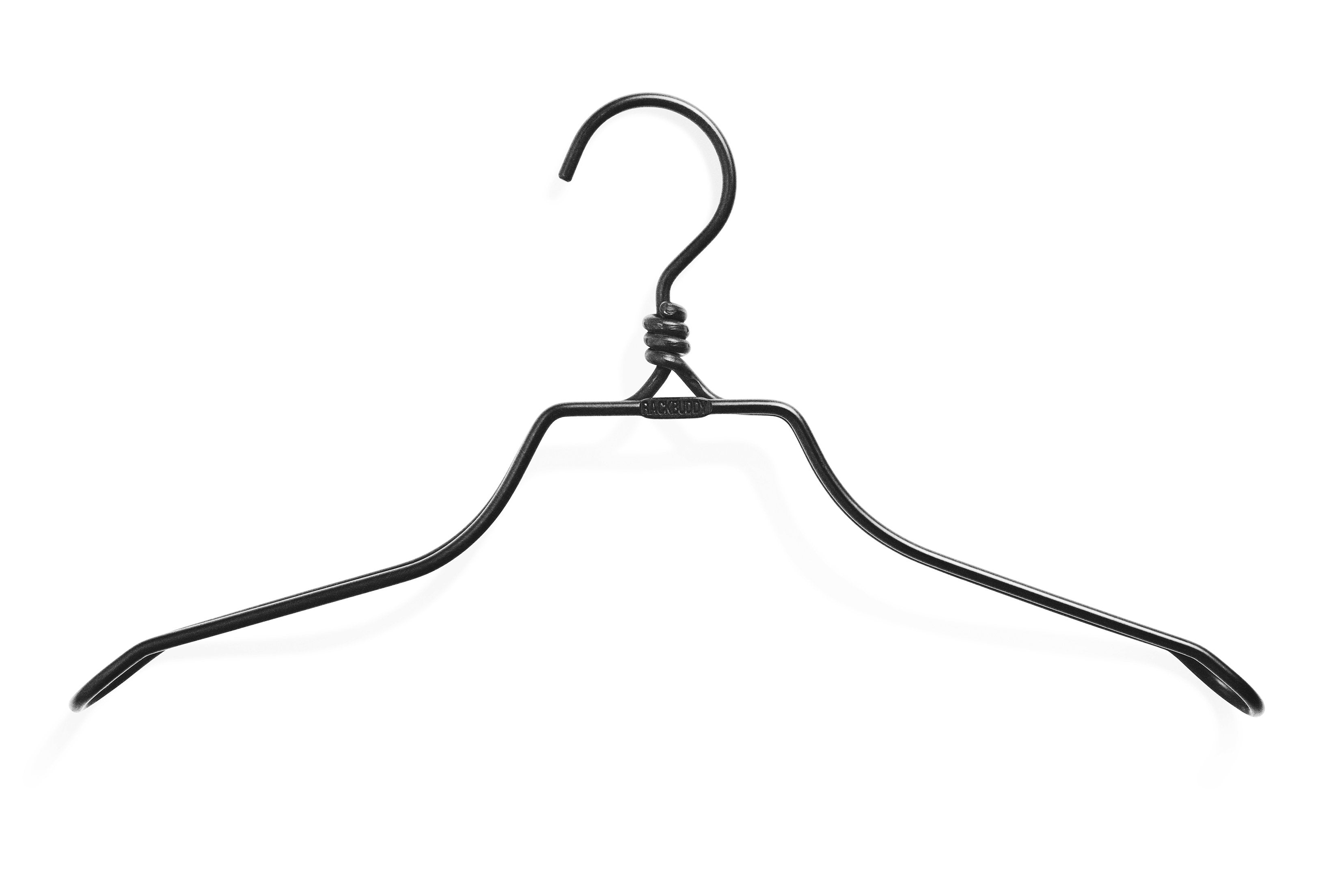 Black iron wide shoulders hanger Rackbuddy for blazers, jackets, shirts