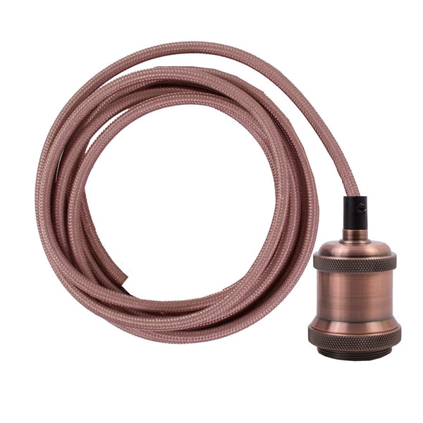 Copper fabric cable with dark copper socket