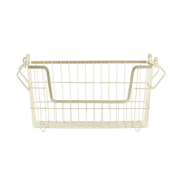 Basket in matte gold for storage of underwear and socks