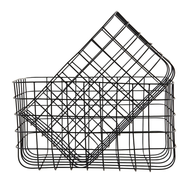 RackBuddy black wired iron basket for socks and underwear