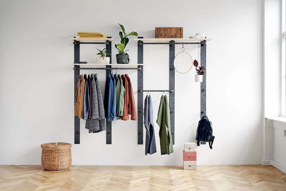 flexible clothing rack solution for wall installation - wooden shelf elements