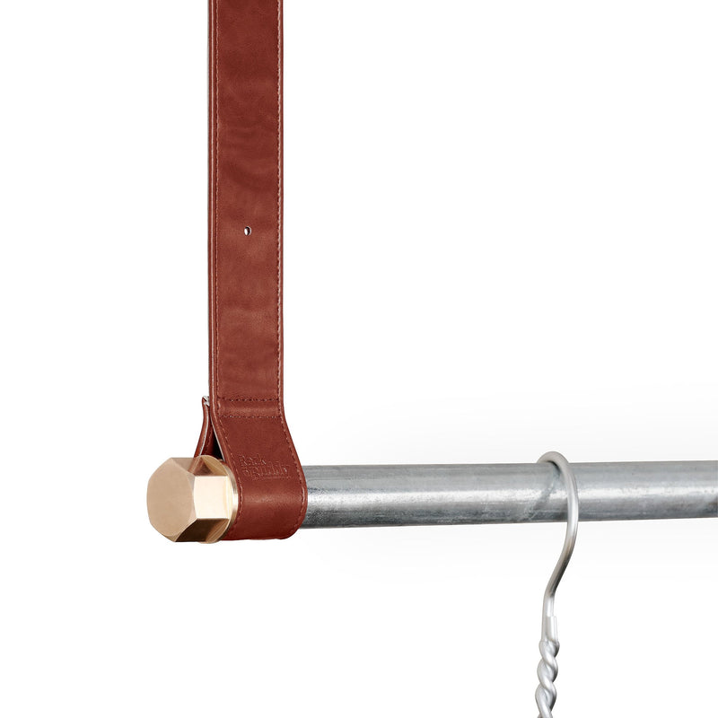 RackBuddy - Dark brown leather straps & silver iron pipe