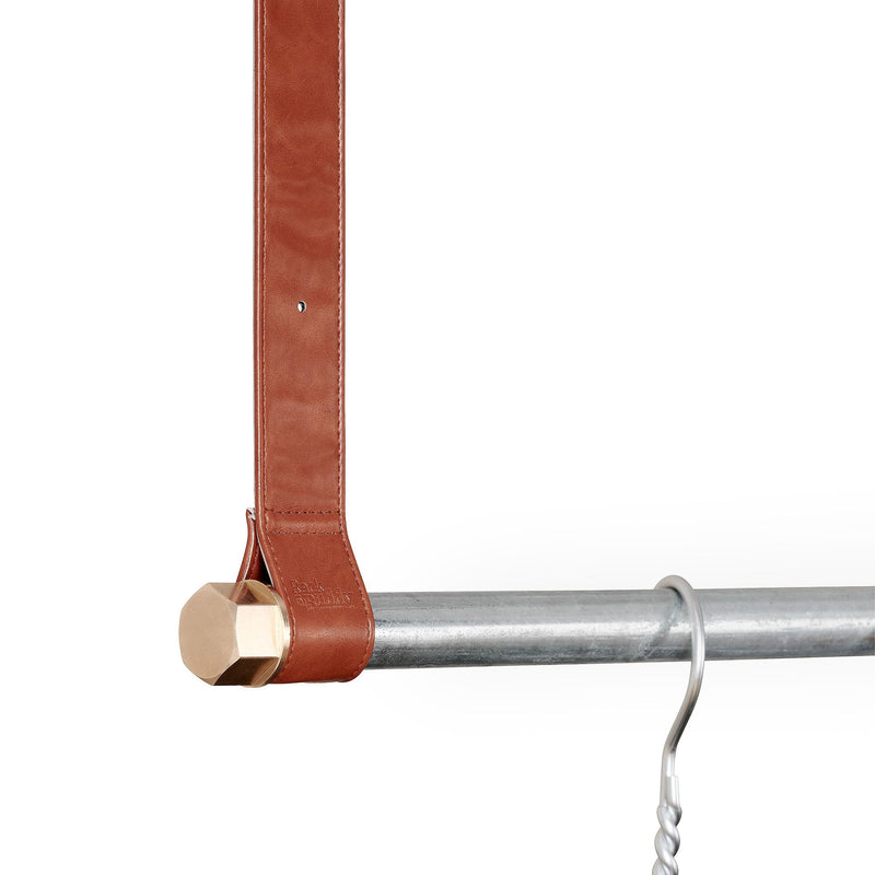 RackBuddy Leatherish - Light brown leather & clothes rack in silver iron pipes