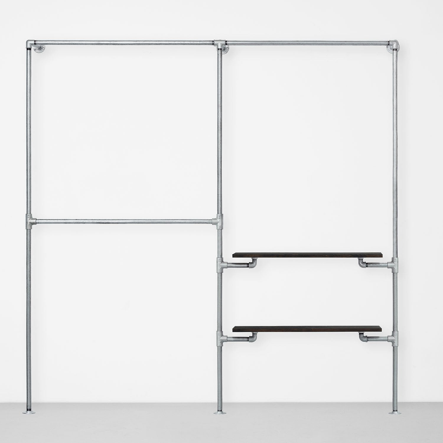 The Walk-In 2 row wardrobe system - (2 rails/ 1 rail + 2 shelves)