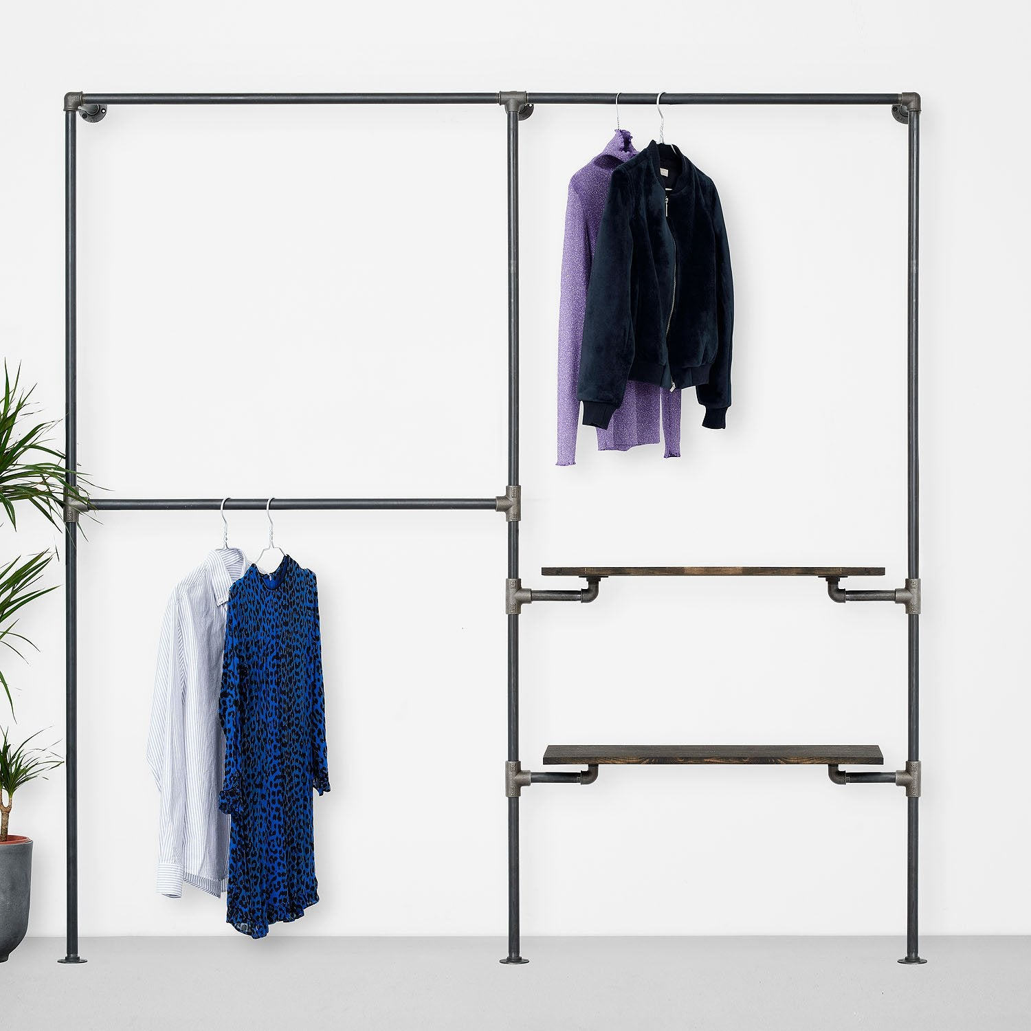 The Walk-In 2 row wardrobe system - 2 rails/ 1 rail & 2 shelves
