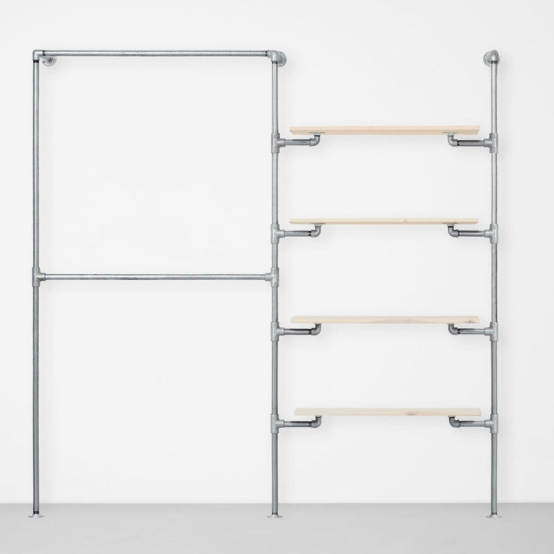 The Walk-In 2 row wardrobe system - (2 rails / 4 shelves)