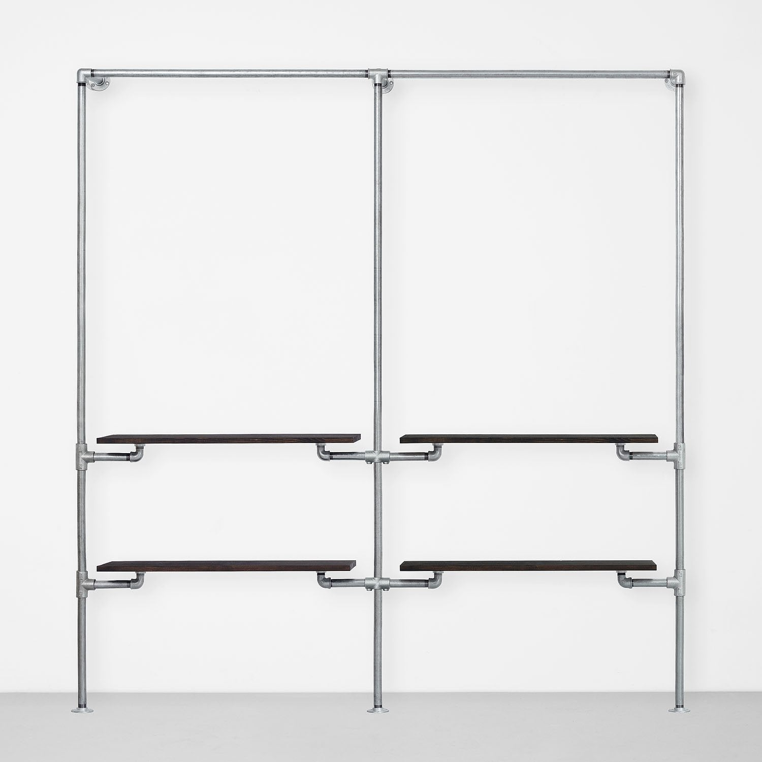 The Walk-In 2 row wardrobe system - (1 rail + 2 shelves / 1 rail + 2 shelves)