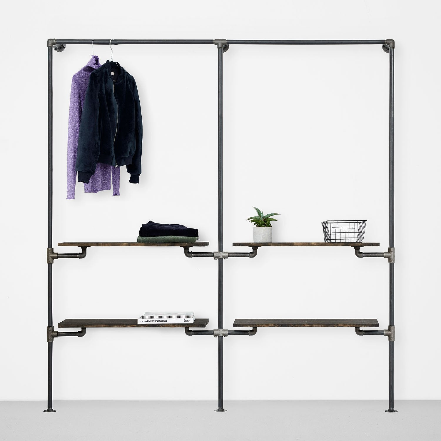 The Walk-In 2 row wardrobe system - 1 rail & 2 shelves / 1 rail & 2 shelves