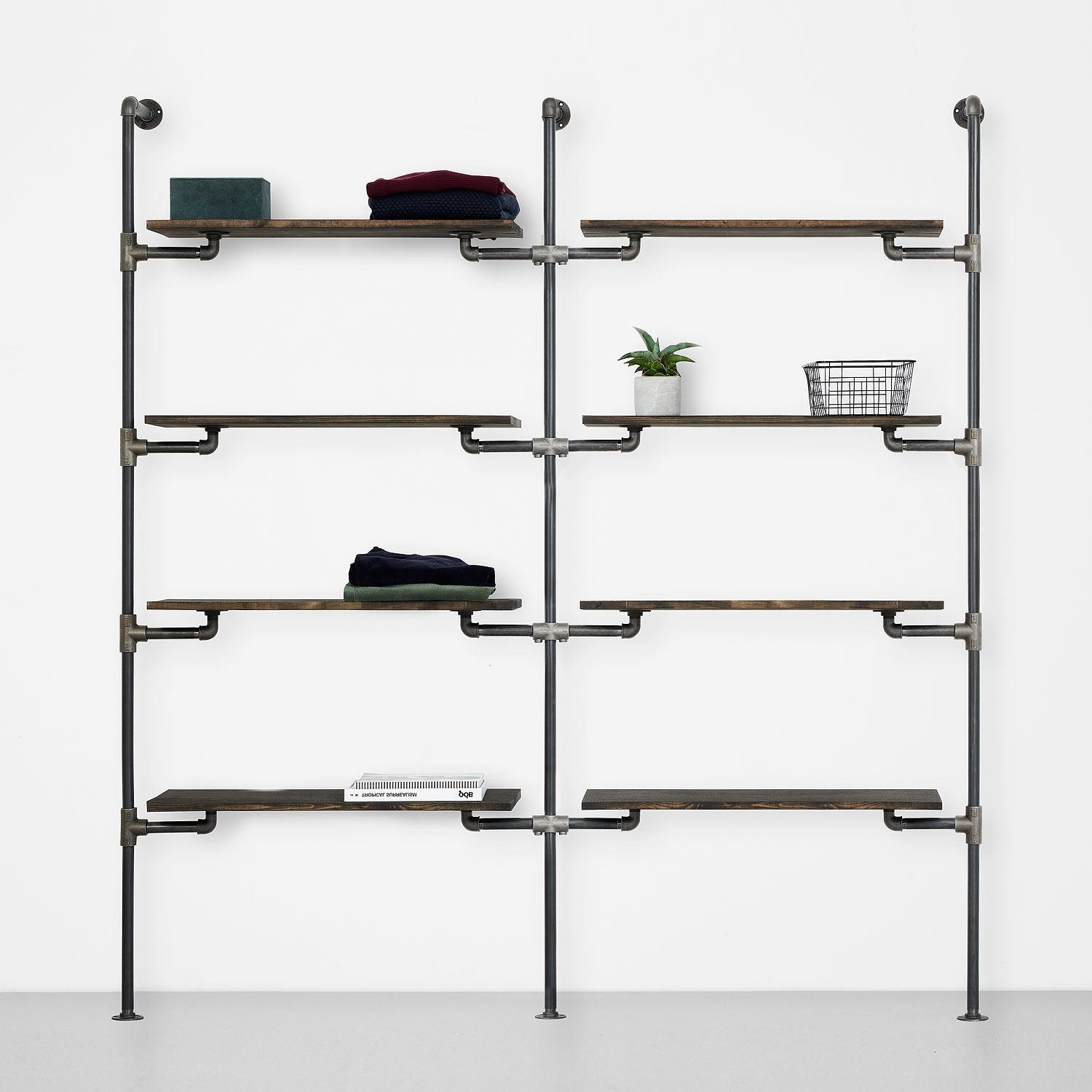 The Walk-In 2 row wardrobe system - 4 shelves/ 4 shelves