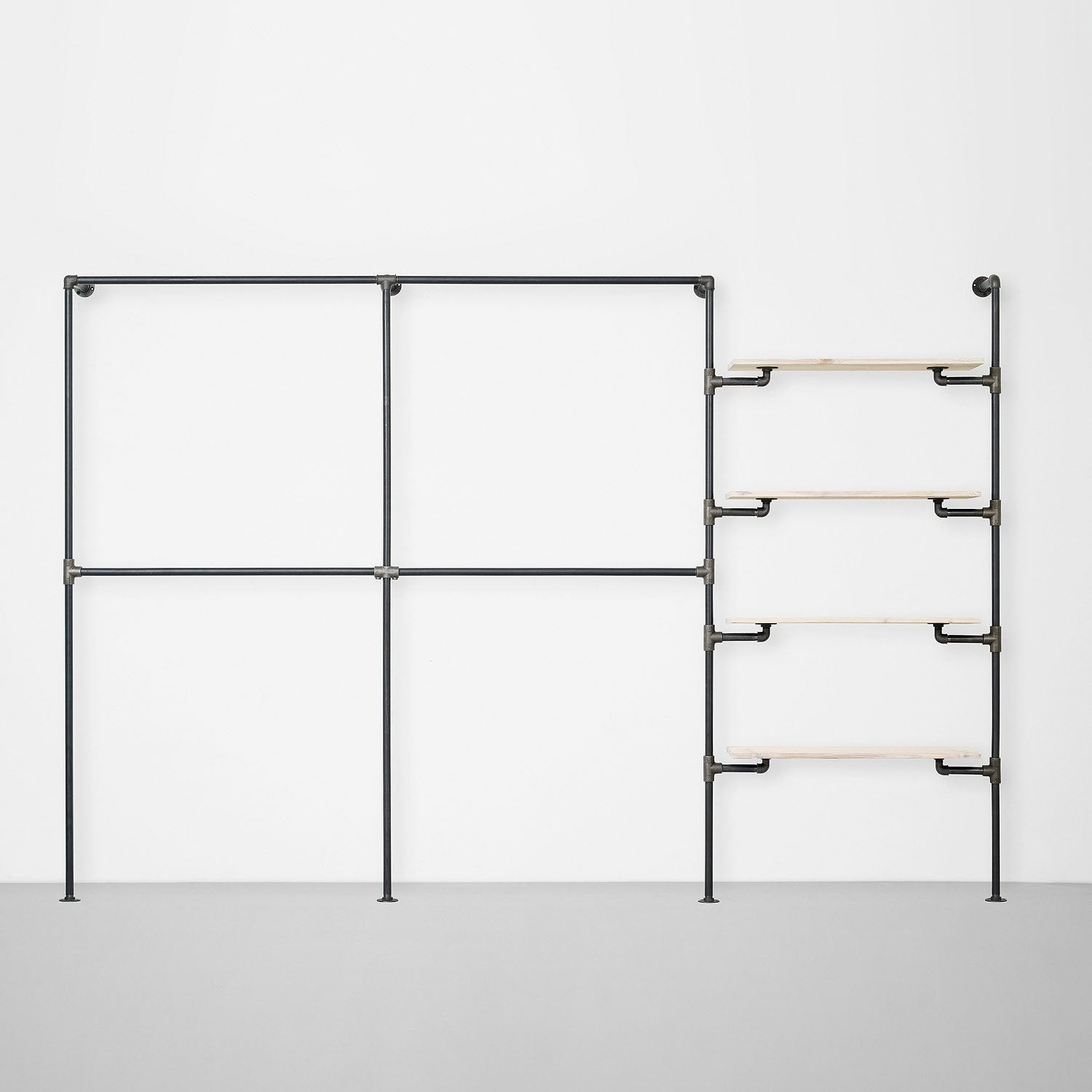 The Walk-In 3 row wardrobe system - (2 rails / 2 rails / 4 shelves)