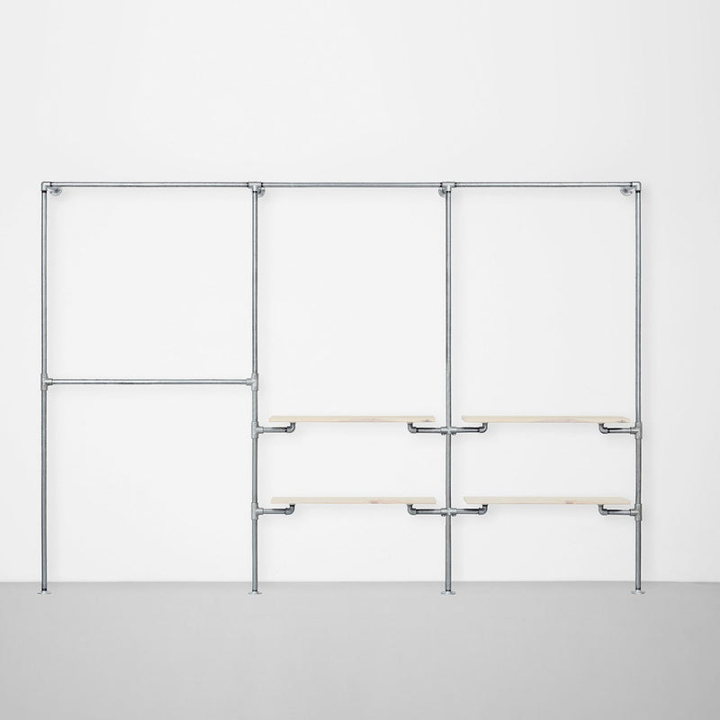 The Walk-In 3 row wardrobe system - (2 rails / 1 rail + 2 shelves/ 1 rail + 2 shelves)