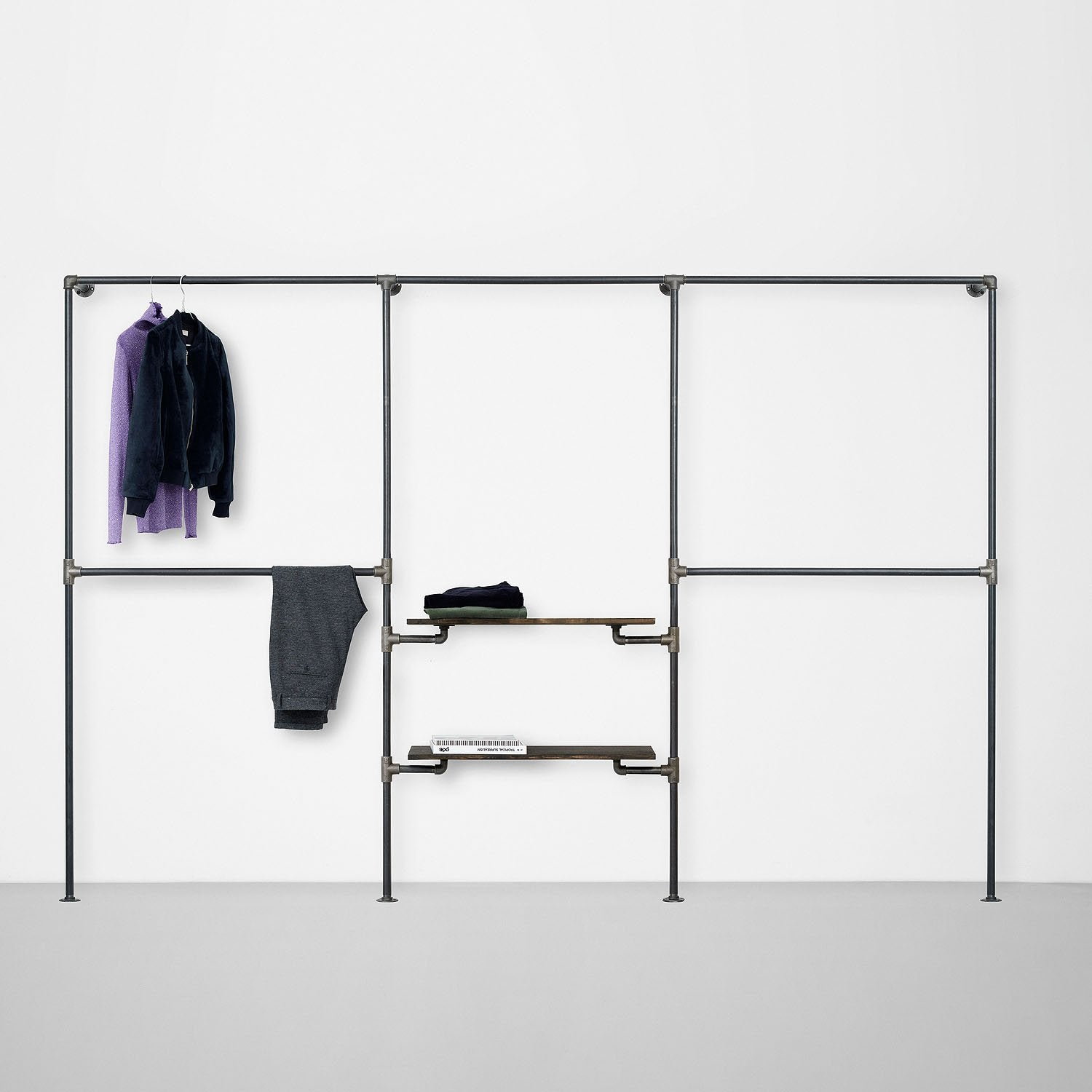 The Walk-In 3 row wardrobe system - 2 rails / 1 rail & 2 shelves / 2 rails