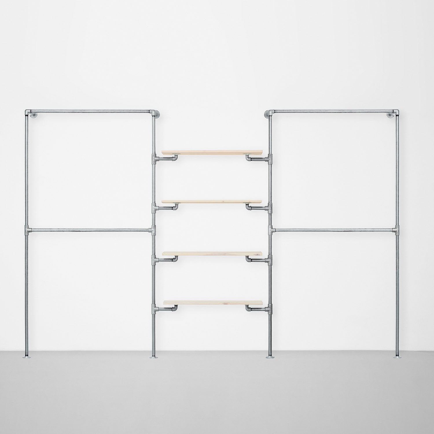 The Walk-In 3 row wardrobe system - (2 rails / 4 shelves/ 2 rails)