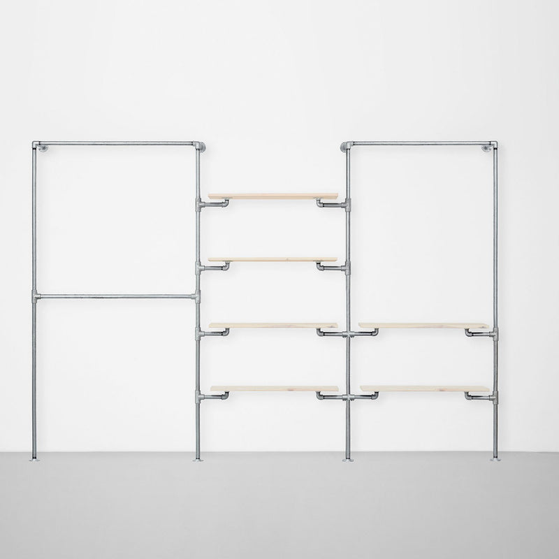 The Walk-In 3 row wardrobe system - (2 rails / 4 shelves / 1 rail + 2 shelves)