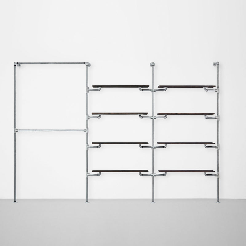The Walk-In 3 row wardrobe system - (2 rails / 4 shelves / 4 shelves)