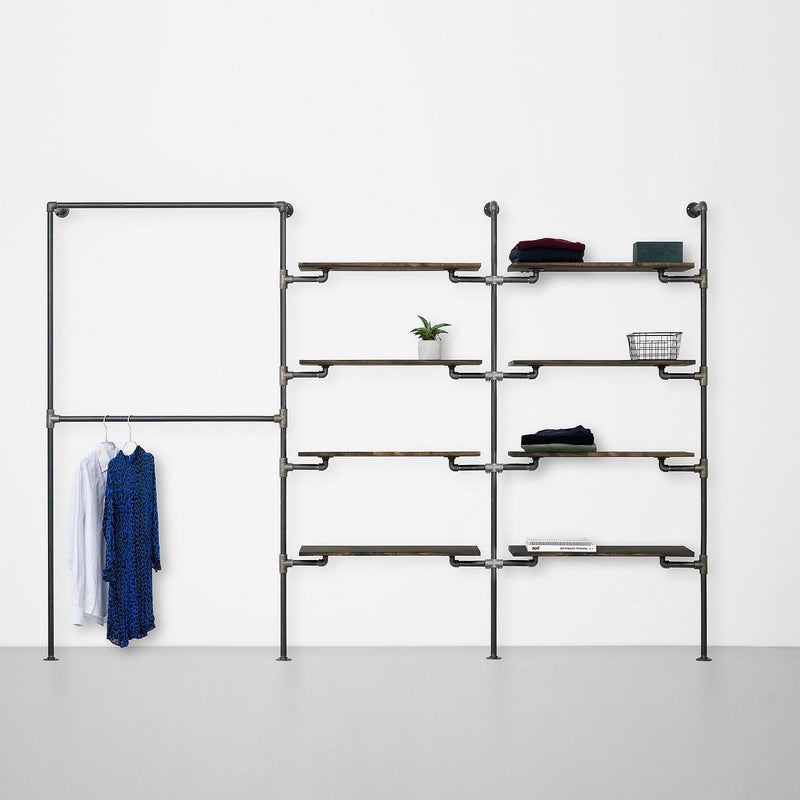 The Walk-In 3 row wardrobe system - 2 rails / 4 shelves / 4 shelves
