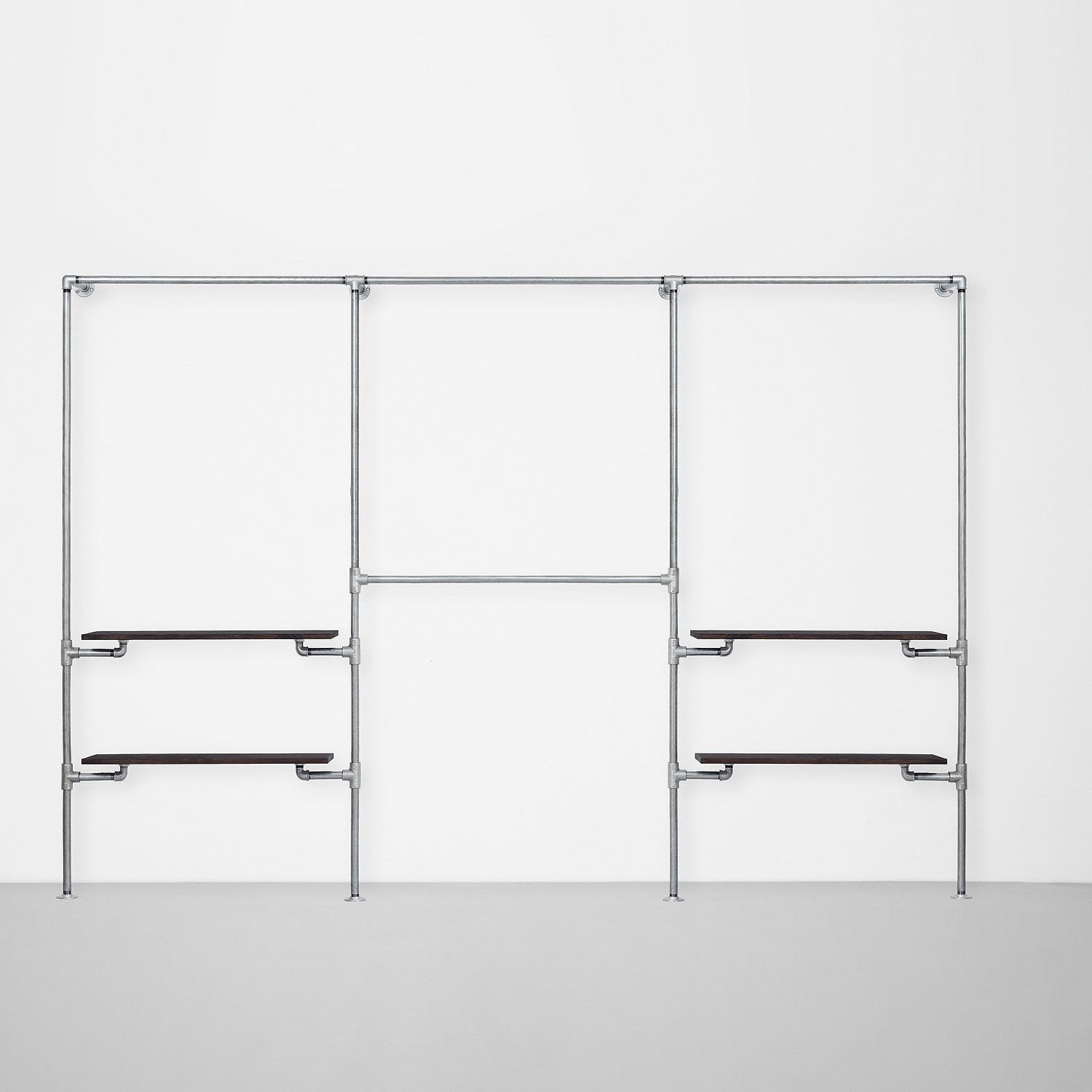 The Walk-In 3 row wardrobe system - (1 rail + 2 shelves / 2 rails/ 1 rail + 2 shelves)
