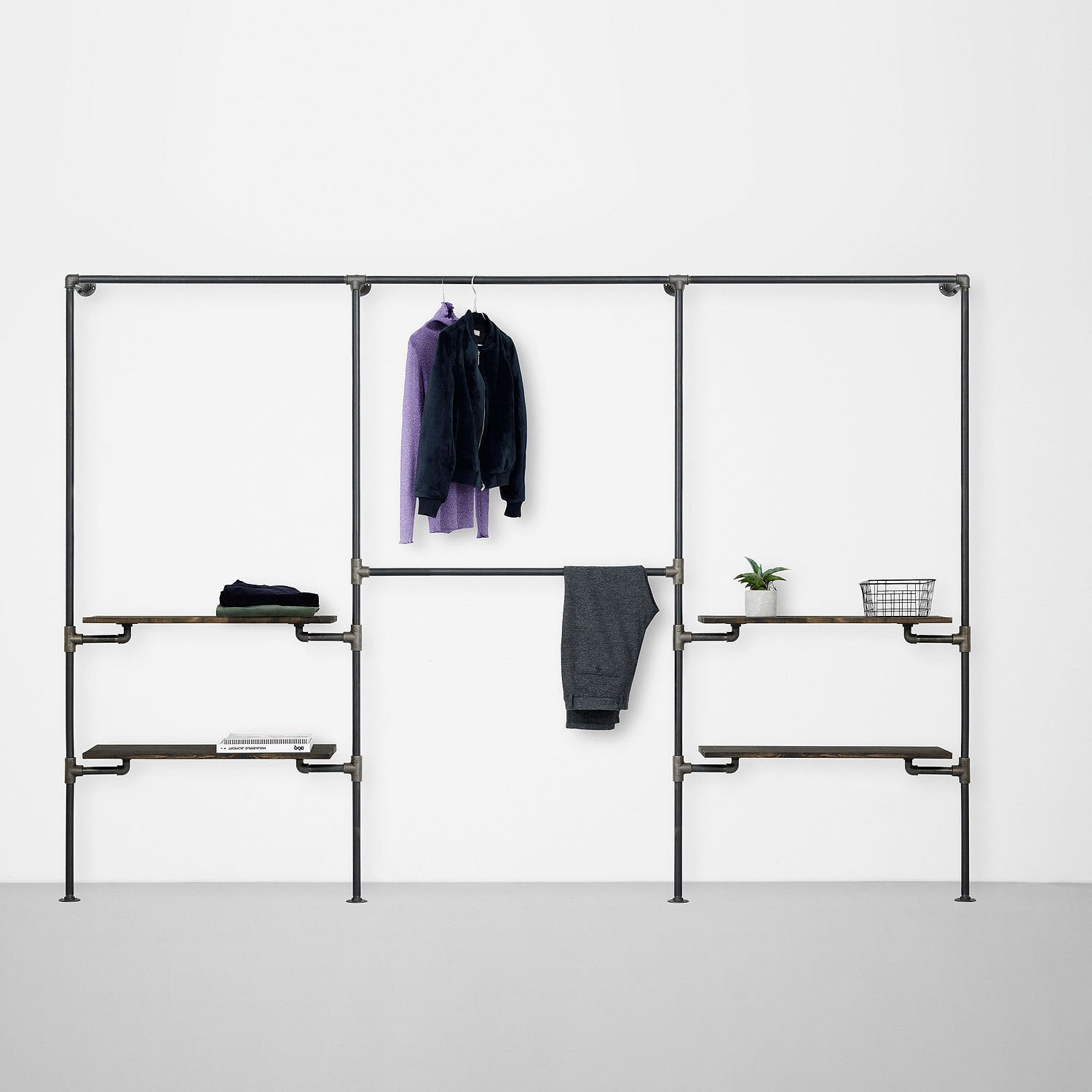 The Walk-In 3 row wardrobe system - 1 rail & 2 shelves / 2 rails/ 1 rail & 2 shelves