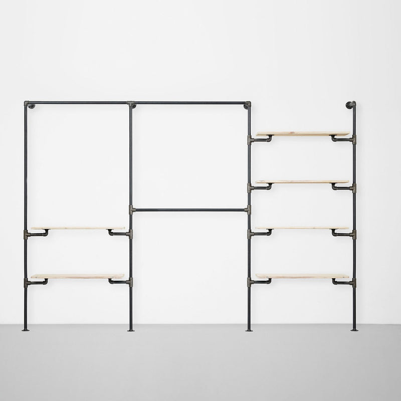 The Walk-In 3 row wardrobe system - (1 rail + 2 shelves / 2 rails/ 4 shelves)