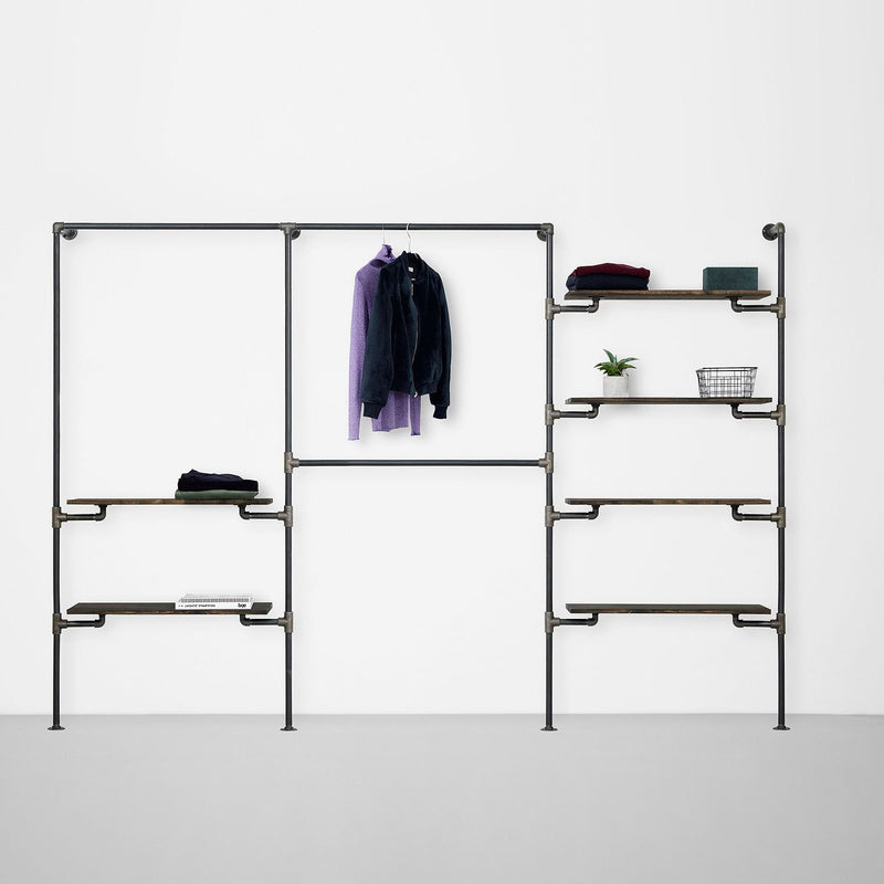The Walk-In 3 row wardrobe system - 1 rail & 2 shelves / 2 rails/ 4 shelves