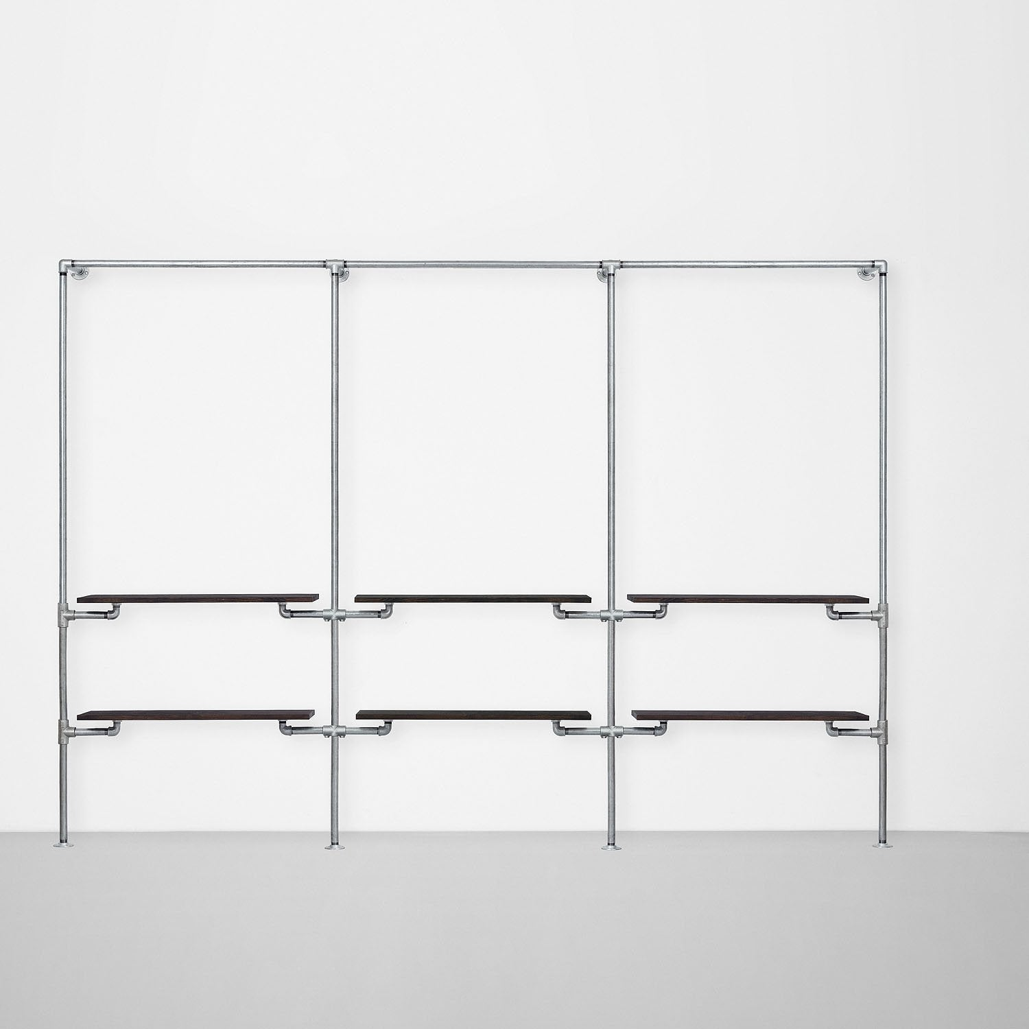 The Walk-In 3 row wardrobe system - (1 rail + 2 shelves /1 rail + 2 shelves/1 rail + 2 shelves)