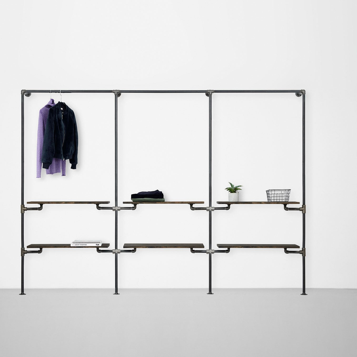 The Walk-In 3 row wardrobe system - 1 rail, 2 shelves /1 rail, 2 shelves/1 rail, 2 shelves