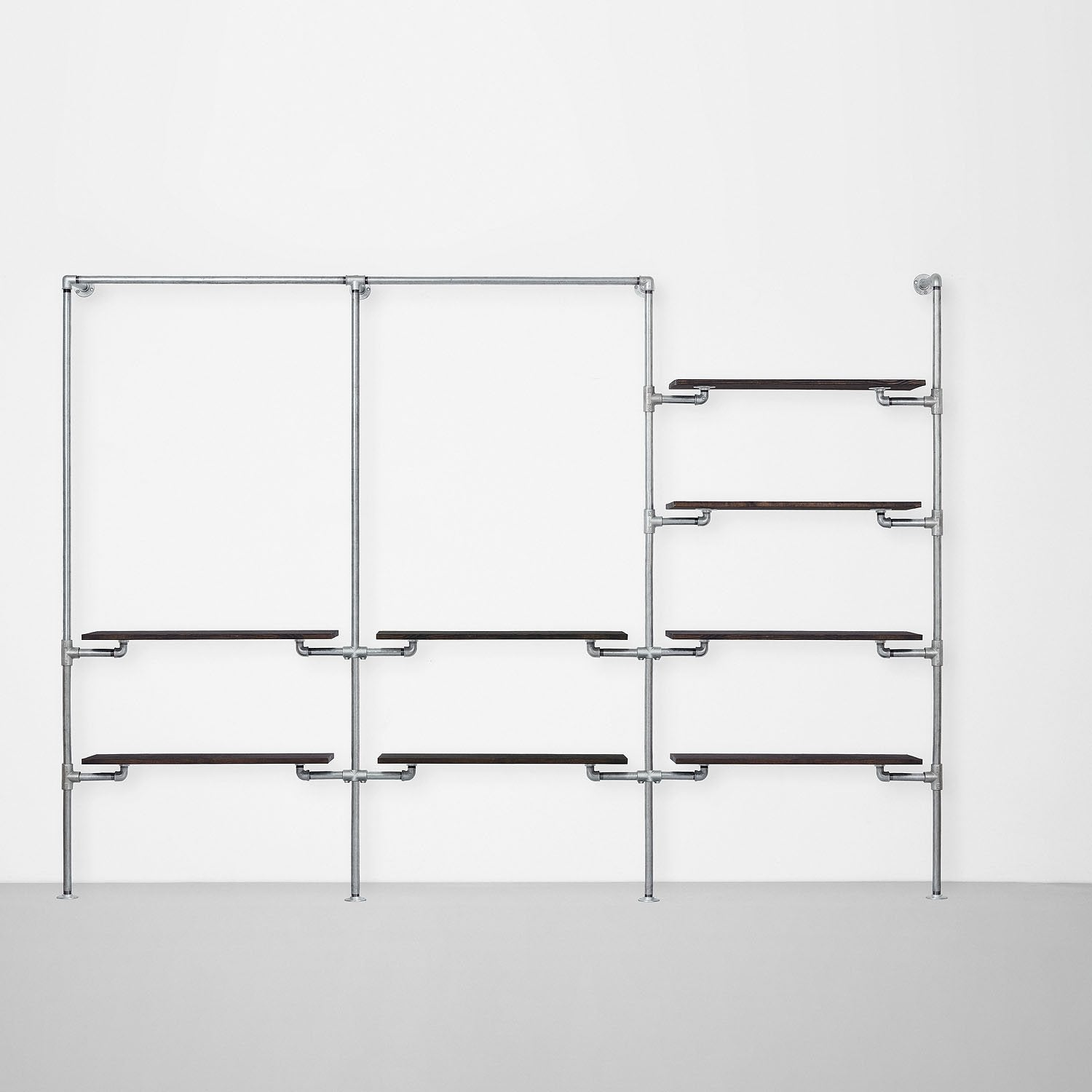 The Walk-In 3 row wardrobe system - (1 rail + 2 shelves / 1 rail + 2 shelves  / 4 shelves)