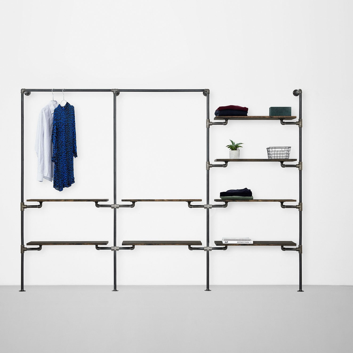 The Walk-In 3 row wardrobe system - 1 rail & 2 shelves / 1 rail & 2 shelves/ 4 shelves