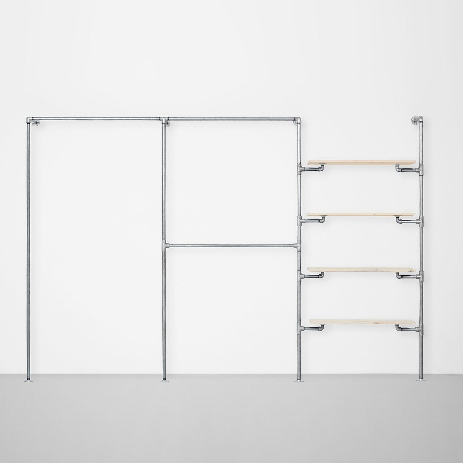 The Walk-In 3 row wardrobe system - (1 rail / 2 rails / 4 shelves)