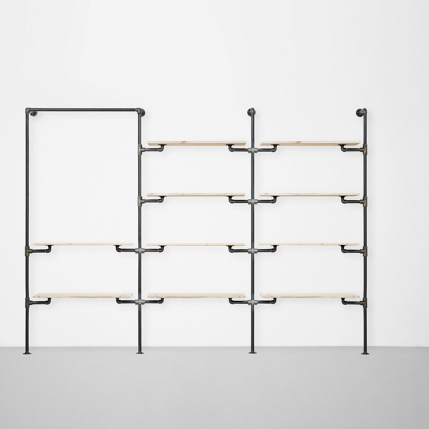 The Walk-In 3 row wardrobe system - (1 rail + 2 shelves / 4 shelves / 4 shelves)
