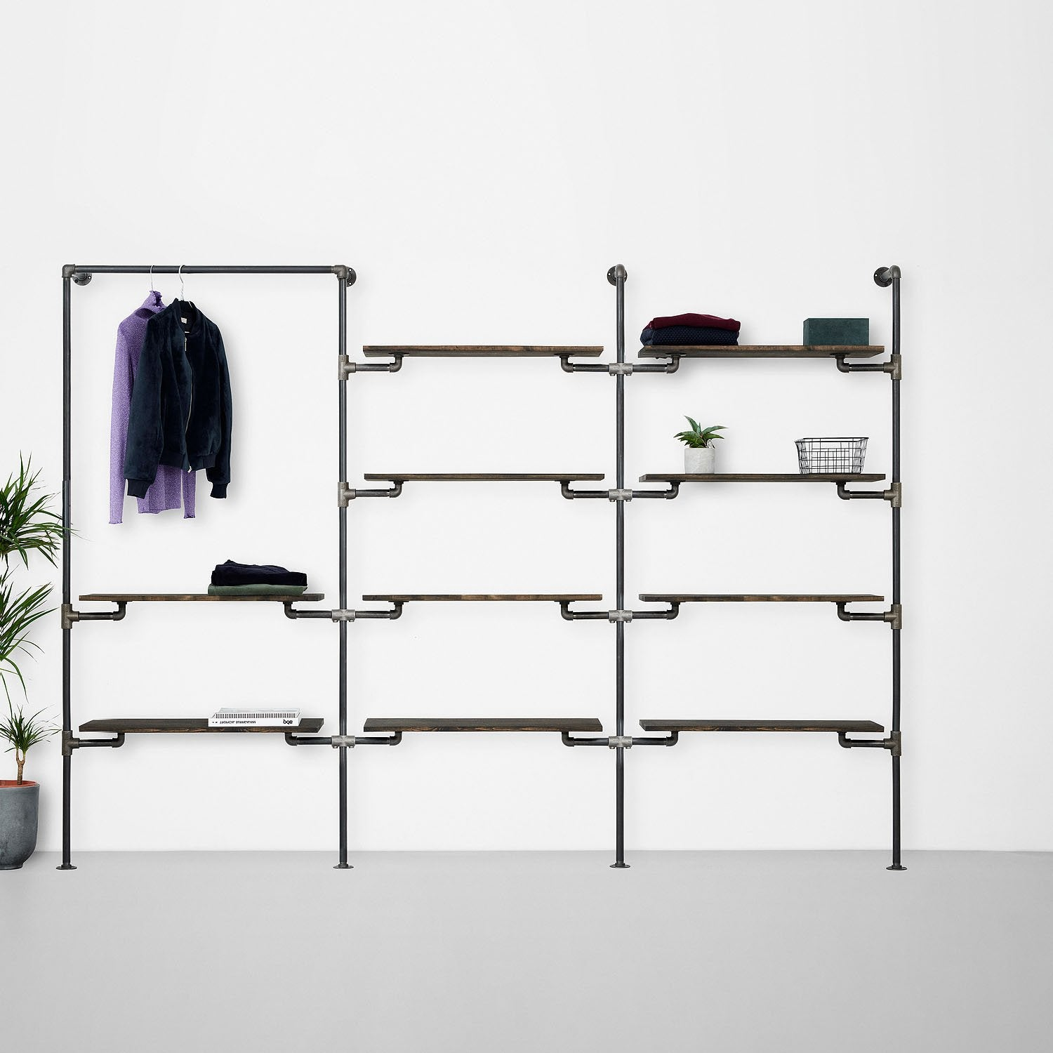 The Walk-In 3 row wardrobe system - 1 rail & 2 shelves / 4 shelves / 4 shelves