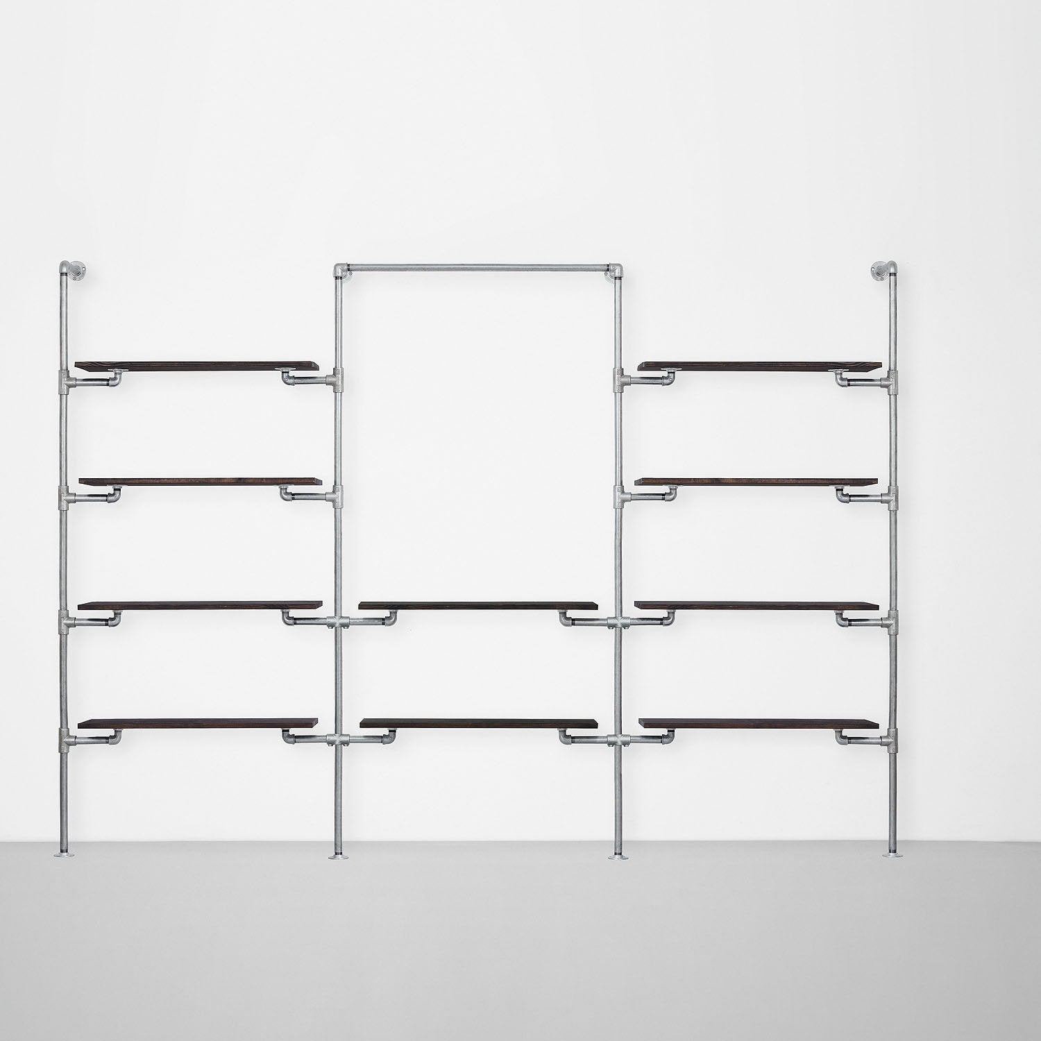 The Walk-In 3 row wardrobe system - (4 shelves / 1 rail + 2 shelves / 4 shelves)