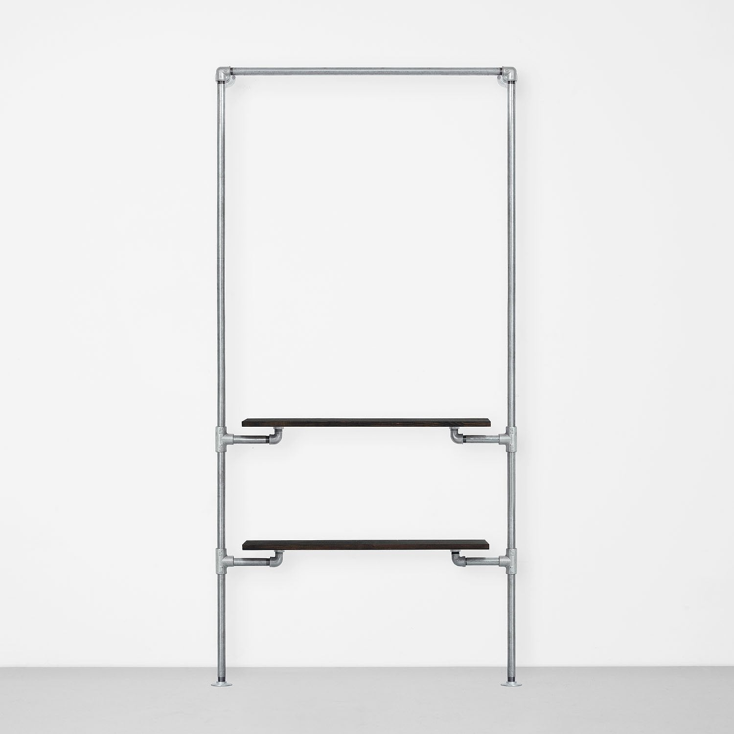 The Walk-In 1 row wardrobe system - (1 rail + 2 shelves)