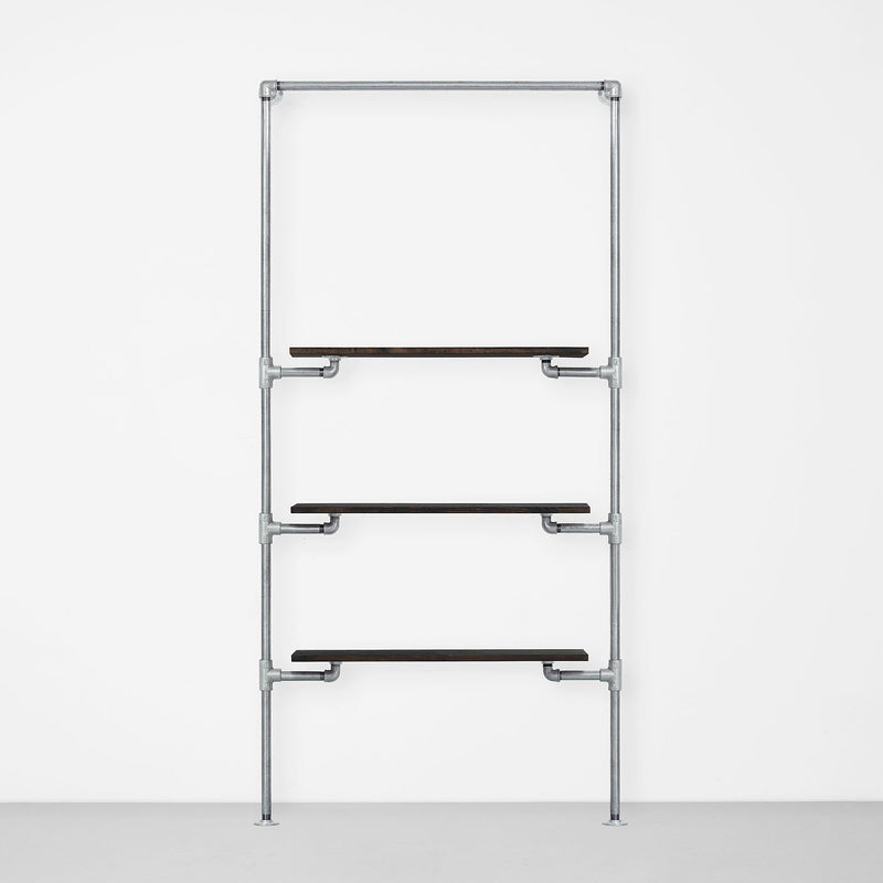 The Walk-In 1 row wardrobe system - (1 rail + 3 shelves)